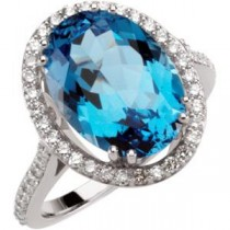 Swiss Blue Topaz Diamond Ring in 14k White Gold (0.5 Ct. tw.) (0.5 Ct. tw.)