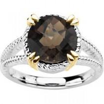 Smoky Quartz Ring in 14k Yellow Gold & Sterling Silver