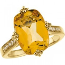 Citrine Diamond Ring in 14k Yellow Gold (0.08 Ct. tw.) (0.08 Ct. tw.)