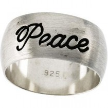 Antiqued Half Round Peace Ring in Sterling Silver