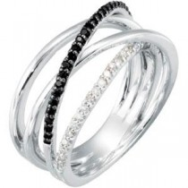 Black Spinel Diamond Ring in Sterling Silver (0.17 Ct. tw.)
