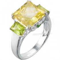 Quartz Peridot Chrome Diopside Ring in Sterling Silver
