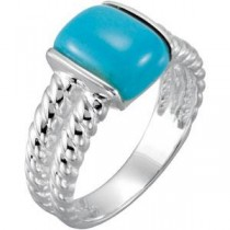 Chinese Turquoise Ring in Sterling Silver