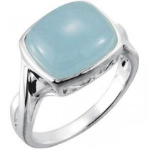 Milky Aquamarine Ring in Sterling Silver