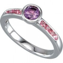 Stackable Amethyst  Tourmaline Ring in Sterling Silver