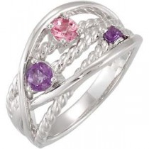 Amethyst Pink Tourmaline Ring in Sterling Silver