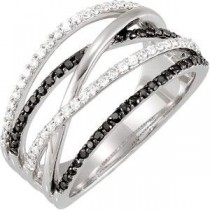 Black White Diamond Ring in 14k White Gold (0.5 Ct. tw.) (0.5 Ct. tw.)