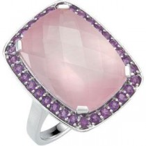 Rose Quartz Amethyst Ring in Sterling Silver