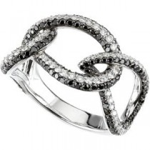 Black White Diamond Ring in 14k White Gold