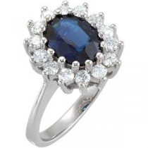 Sapphire Diamond Ring in 14k White Gold (0.5 Ct. tw.) (0.5 Ct. tw.)