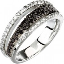Black Spinel Diamond Ring in Sterling Silver (0.33 Ct. tw.)