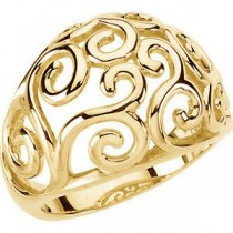 Scroll Fashion Ring in 14k Yellow Gold