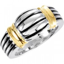 Two Tone Freeform Ring in 14k Yellow Gold & Sterling Silver