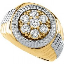 Ct Tw Two Tone Gents Diamond Ring in 14k Two-tone Gold (1.5 Ct. tw.) (1.5 Ct. tw.)