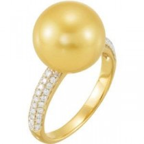 Ct Tw Diamond Ring For Pearl in 14k Yellow Gold