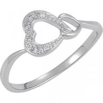 Ct Tw Diamond Heart Ring in Sterling Silver