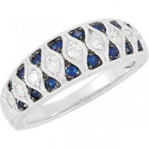Genuine Blue Sapphire Diamond Ring in 14k White Gold (0.25 Ct. tw.) (0.25 Ct. tw.)
