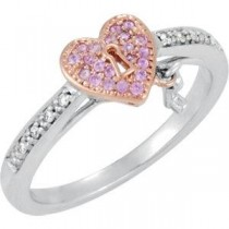 Genuine Pink Sapphire Diamond Heart Ring in Sterling Silver