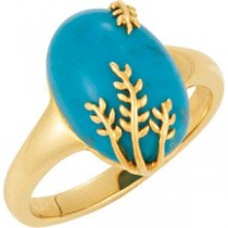 Genuine Chinese Turquoise Ring in 14k Yellow Gold