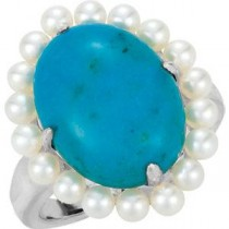 Genuine Chinese Turquoise Freshwater Cultured Seed Pearl Ring in Sterling Silver