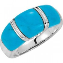 Genuine Chinese Turquoise Ring in Sterling Silver