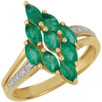 Genuine Emerald Diamond Ring in 14k Yellow Gold