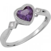 Genuine Amethyst Diamond Heart Ring in 14k White Gold
