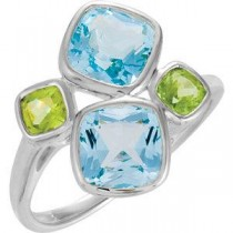 Genuine Sky Blue Topaz Peridot Ring in Sterling Silver