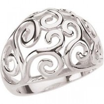 Scroll Fashion Ring in 14k White Gold