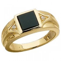 Genuine Onyx Diamond Ring in 14k Yellow Gold