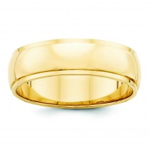 Edge Half Round Wedding Band (6.00 mm)