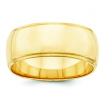 Edge Half Round Wedding Band (8.00 mm)