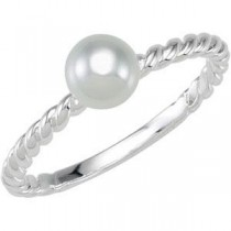 Twisted Band White Glass Pearl (6.00 mm)
