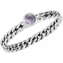 Bezel Amethyst CZ Stackable  Band