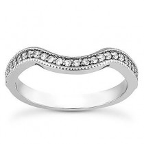 Mill Grained Edge Diamond Engagement Band in 14K Yellow Gold
