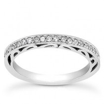 Filigree Diamond Engagement Band in 14K Yellow Gold