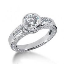 Round Enhanced Diamond Engagement Ring in 14K Yellow Gold