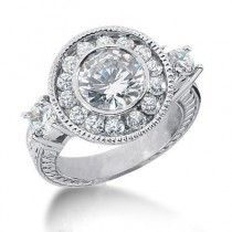 Perfect Antique Round Diamond Ring in 14K Yellow Gold