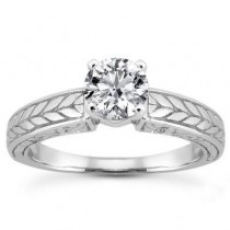 Round Antique Diamond Engagement Ring in 14K Yellow Gold