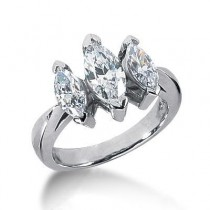 Marquise Three Stone Diamond Engagement Ring in 14K White Gold