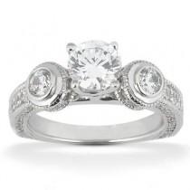 Round Three Stone Diamond Engagement Ring in 14K Yellow Gold