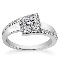 Designer Princess Cut Diamond Ring in 14K Yellow Gold