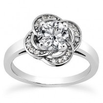 Floral Design Diamond Engagement Ring in 14KYellow Gold