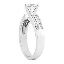 Engagement Ring with Princess Cut Side stones in 14K Yellow Gold