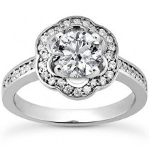 Round Engagement Wedding Ring in 14K Yellow Gold