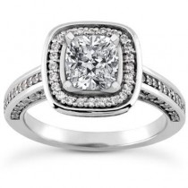 Cushion Cut Wedding Ring in 14K White Gold