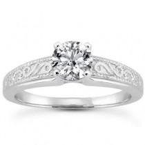 Modish Round Diamond Engagement in Ring 14K Yellow Gold