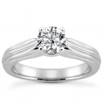 Round Solitaire Diamond Wedding Ring in 14K Yellow Gold