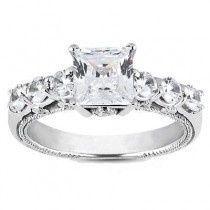 Princess Cut Centered Engagement Ring in 14K Yellow Gold