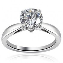 Round Cut Engagement Solitaire Ring in 14K Yellow Gold
